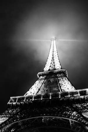 fog white: Eiffel Tower by night, black & white photo