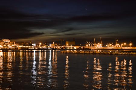 Harbor of Bari, Italy by night