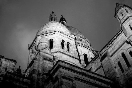 cur: Black and white image of Sacre Coeur Basilica Stock Photo
