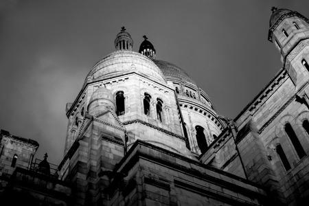 Black and white image of Sacre Coeur Basilica Stock Photo