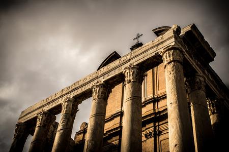 Forum Romanum, temple of Faustina and Antonius Pius, later church San Lorenzo, Rome