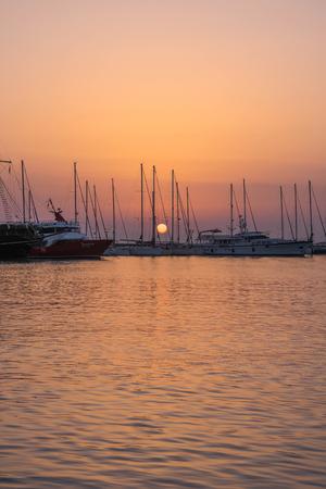 Sunrise in the harbor of Zakynthos