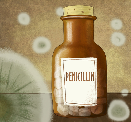Penicillin in a bottle with mold stains Stock Photo