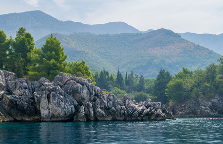 Coast line of Montenegro, pines and cliffs