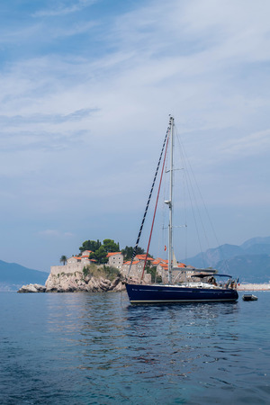 Sveti Stefan and a boat, Montenegro
