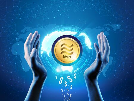 Libra crypto currency concept. Block chain technology business theme Libra coin protecting with hands, Protect Libra symbol concept. dollars converting to Libra, illustration
