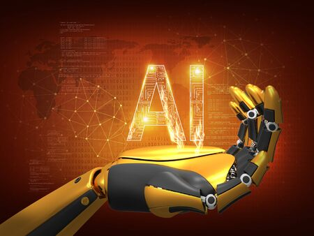 Artificial intelligence concept. Robot hand, future robotic technology, 3D rendering, abstract background Stok Fotoğraf
