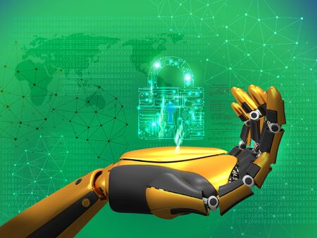 artificial intelligence, data security, privacy concept, robot holding lock, 3D rendering abstract green background with binary code, connected lines, light