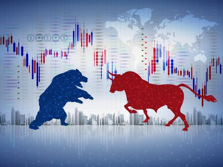 abstract financial chart with bulls and bear in stock market, isolated white background illustration, bull vs bear, stock market concept, economic concept, financial concept. Banco de Imagens