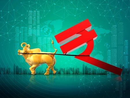 golden bull dragging Indian rupee symbol, India development, Indian Economy, Financial, business success, yellow  3D rendering abstract background, make in India, Indian stock market, concept
