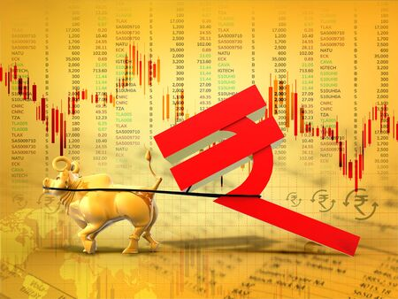 Indian Economy, Financial, business success, yellow  3D rendering abstract background, golden bull dragging Indian rupee symbol, make in India, India development, Indian stock market concept