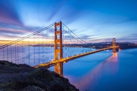 Golden Gate Bridge Long Exposure Panoramic Photo at Sunset
