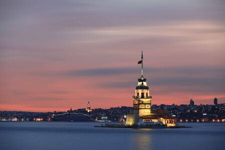 Istanbul Maiden's Tower Long Exposure at Beautiful Sunset
