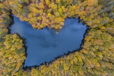 Aerial Drone Photograph of a Heart Shaped Lake Surrounded with Beautiful Autumn Colors of the Forest Reklamní fotografie