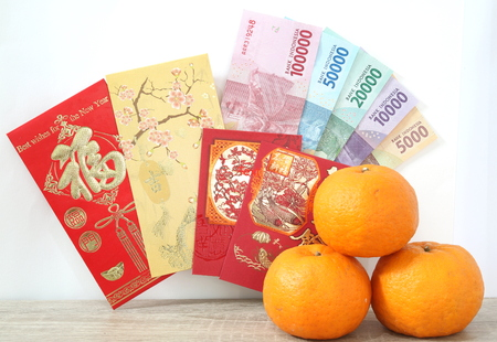Chinese new year envelope with Indonesian rupiah money