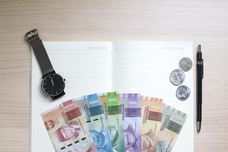 Mock Up Flatlays Indonesian Money Notes Banco de Imagens