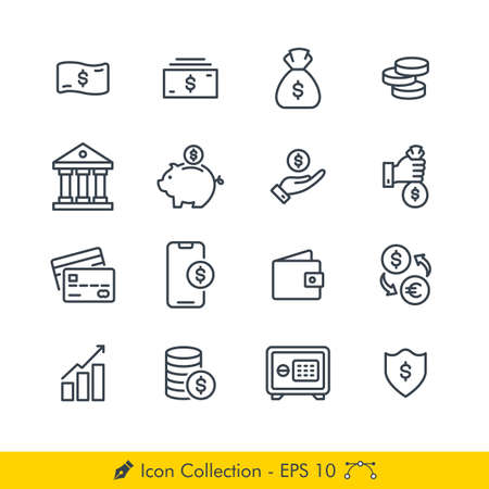 Set of Money Related Icons / Vectors - In Line / Stroke Design | Contains Such Money, Bank, Coin, Piggy Bank, Saving, Credit Card, Wallet, Currnecy Exchange, Investment, Safety Box, Mobile Payment