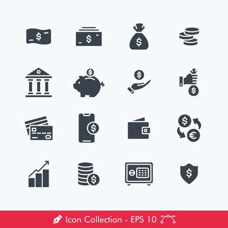 Set of Money Related Icons / Vectors | Contains Such Money, Bank, Coin, Piggy Bank, Saving, Credit Card, Wallet, Currnecy Exchange, Investment, Safety Box, Mobile Payment  イラスト・ベクター素材