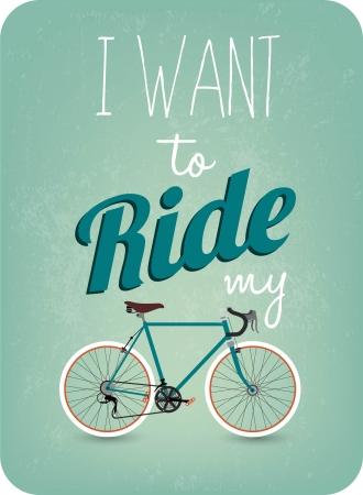 Retro Illustration Bicycle Vector