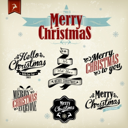 Vintage Christmas Background With Typography Stock Vector - 16974814