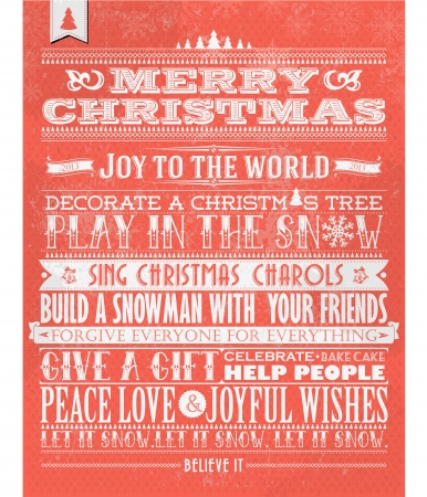 vintage christmas background: Retro Vintage Christmas Background With Typography Illustration
