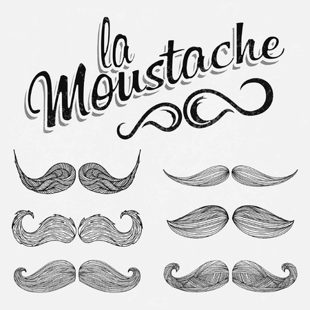 moustache: Hand Drawn White Mustache Set Illustration