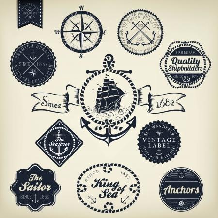 Set Van De uitstekende Retro Nautische badges en labels Vector Illustratie