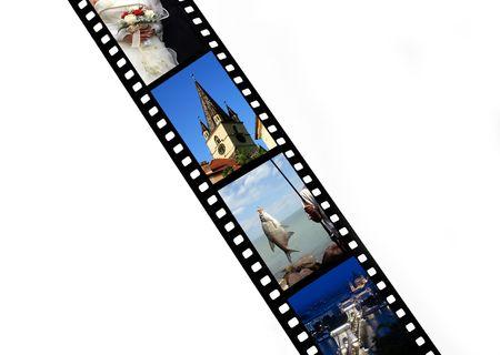creative shot:  Film strip with vacation snap shots