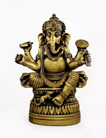 idool: Hindoe god Ganesh geïsoleerd over wit Stockfoto