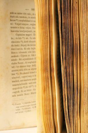 humanismo: El medio viejo libro abierto con el foco en la página afila