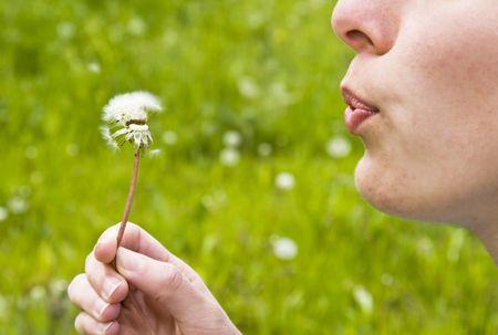 Girls blowing dandelion photo