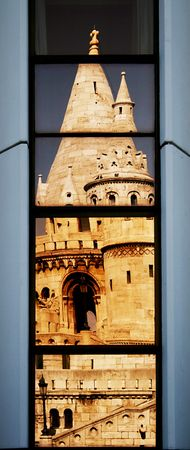 fishermens: Fishermens Bastion reflecting in hotel windows Stock Photo
