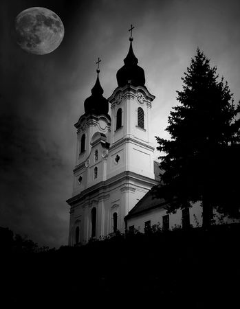 full moon effect: Church with full moon - noise added for effect Stock Photo