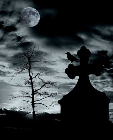 spooky tree:                                Halloween scene with crow on tomb and full moon - noise added for effect