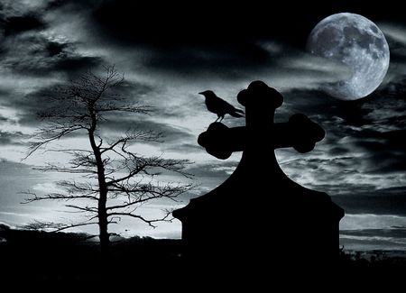 tombstone:                                Halloween scene with crow on tomb and full moon - noise added for effect