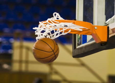 basketball shot: Ball in hoop Stock Photo