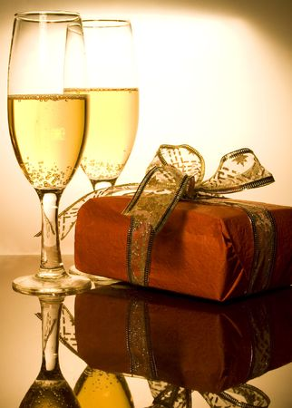 Christmas gifts and champagne photo