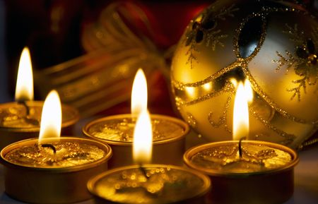 Christmas decoration and candles photo
