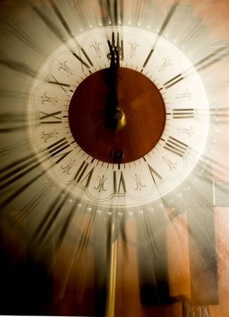 Vintage clock blurred in photo