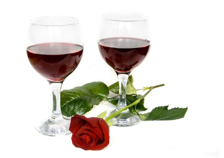 Red wine and rose photo