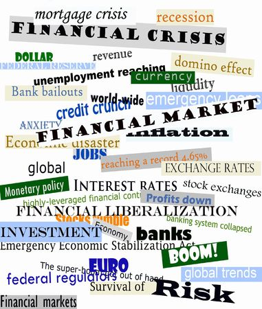 credit report: Newspaper headlines announcing financial crisis Stock Photo