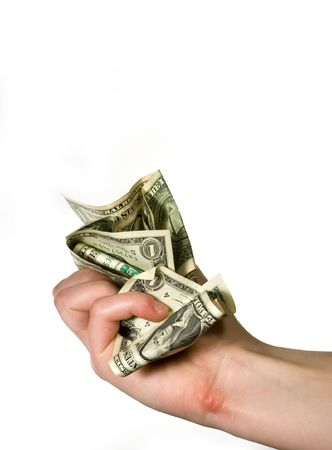 unsure: Dollar banknotes shriveled in hand Stock Photo