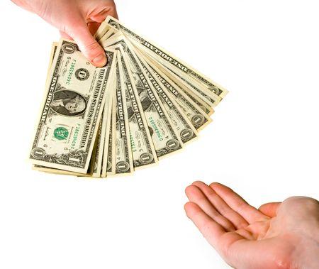 greed: Handing over money Stock Photo