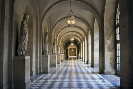 chequer: Hallway at Versailles, Paris, France Stock Photo