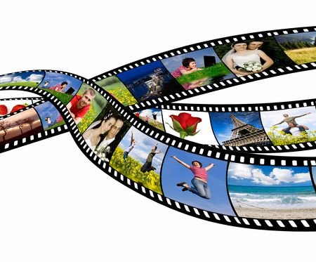 wedding photography: Film strip with vacation photos Stock Photo