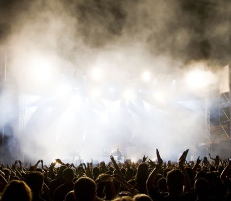 rock music background: Crowd at concert Stock Photo