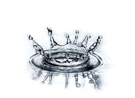 surface closeup: Splash of blue water on white background Stock Photo