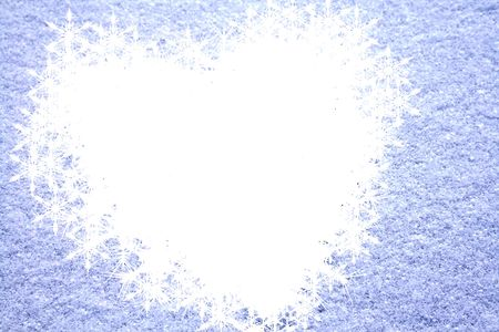 windows frame: Christmas card frame with snow and heartshape