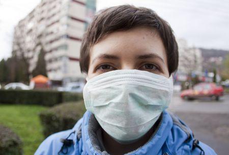 Woman wearing medical mask photo