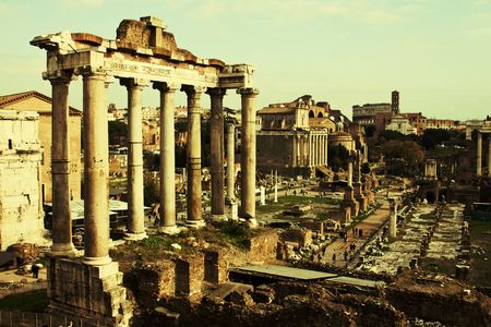 obelisc: Vintage postcard with Foro Romano Stock Photo